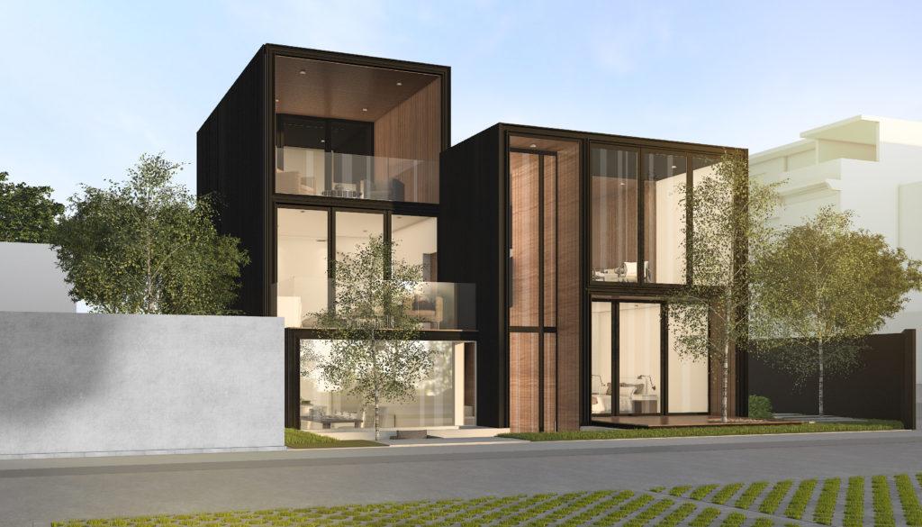 villa cubique en bois et grandes baies vitrées AGEMI